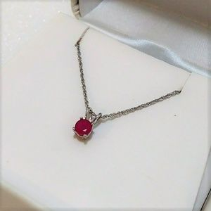 10k Ruby and white gold necklace